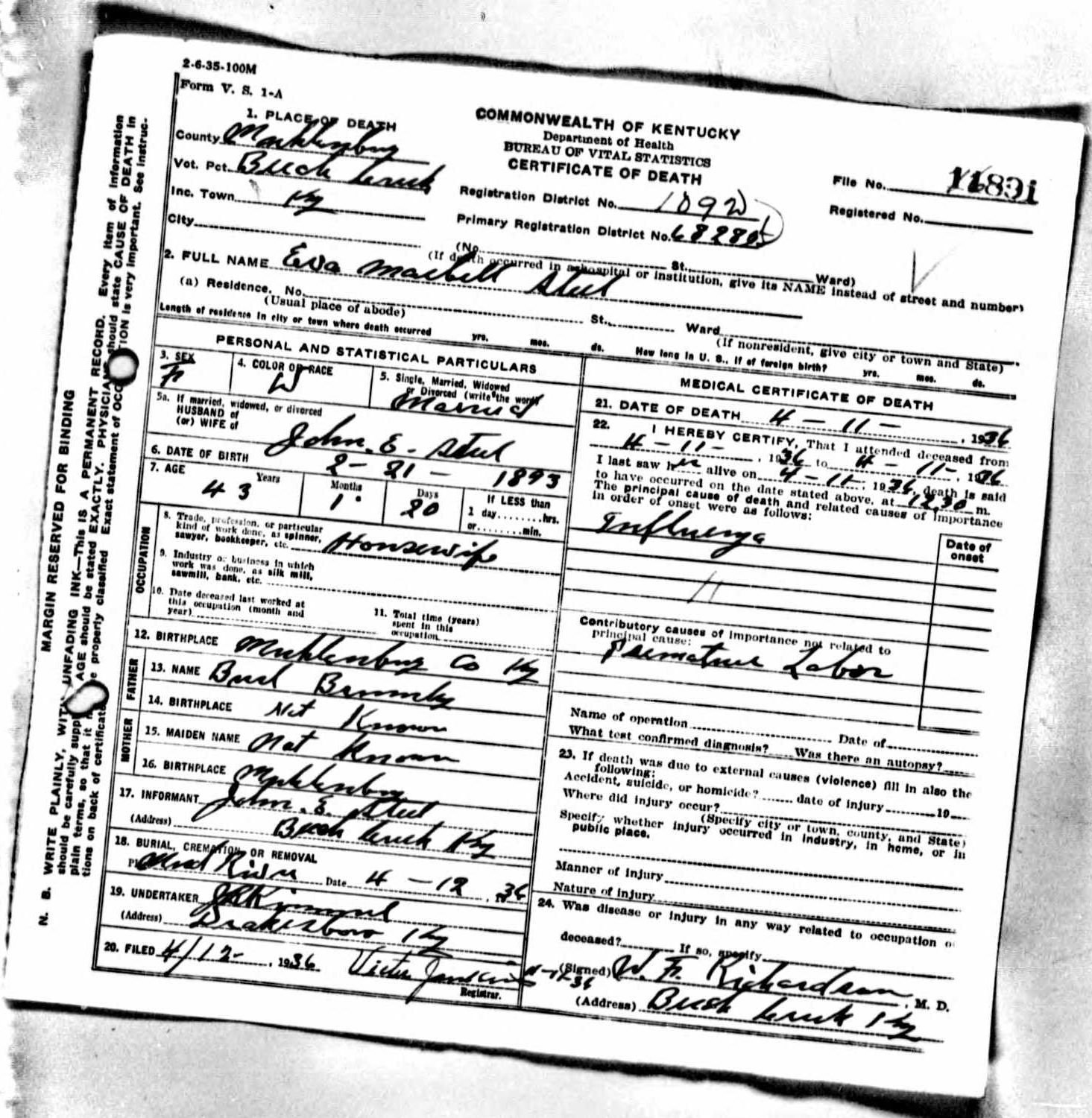Death certificates st kentucky death certificate 11891 1betcityfo Image collections