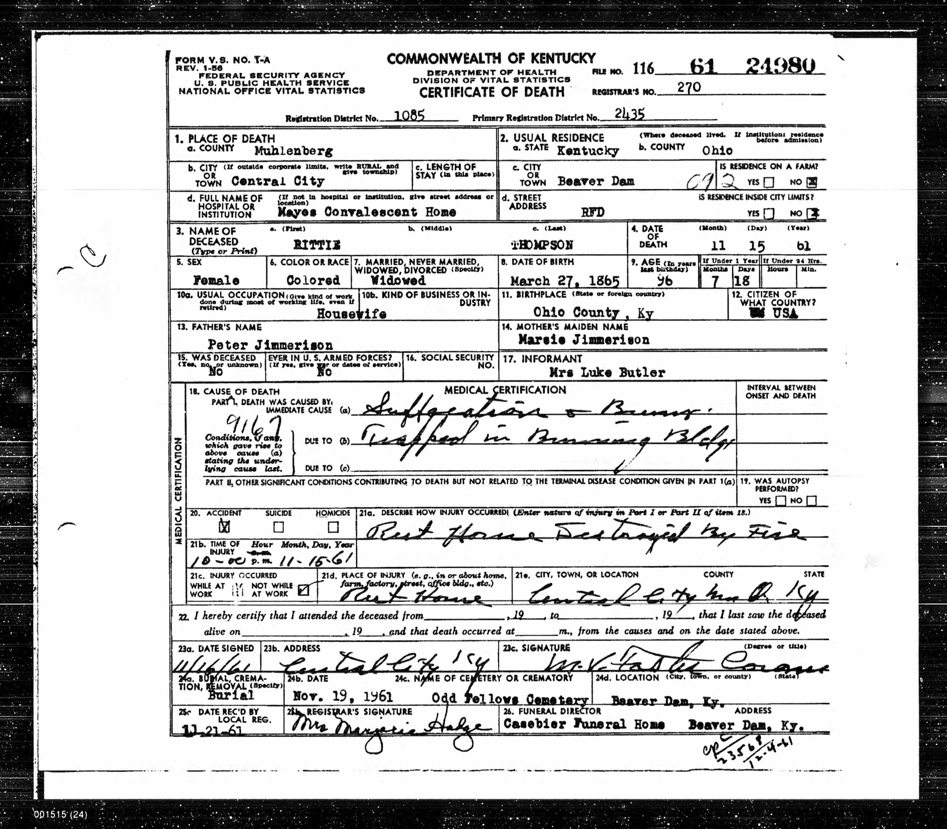 Death certificates t kentucky death certificate 24980 1betcityfo Image collections