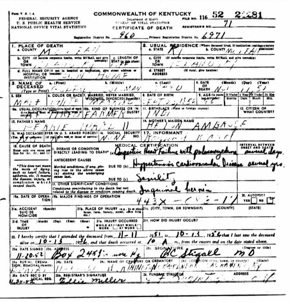 Death certificates w kentucky death certificate 24281 godfrey coleman ward 1856 1956 perry ward helen ambrose raymond ward island sacramento mclean indiana 1betcityfo Choice Image
